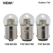 6XไฟLed S25 P21w 1156 BA15S 1157 BAY15D BA15D 1Wแก้วถ้วยCanbus Dc 6 12 24 36 48 Vโวลต์หลอดไฟเลี้ยวไฟสัญญาณ