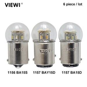 Image 1 - 6X led רכב אורות S25 p21w 1156 BA15S 1157 BAY15D BA15D 1W זכוכית כוס Canbus Dc 6 12 24 36 48 V וולט הנורה אוטומטי הפעל אות אור