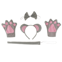 1 Set Animal Cosplay Costume Mouse Headband Tails Bow Skirt Fancy Dress Zoo for Children Costumes Accessories