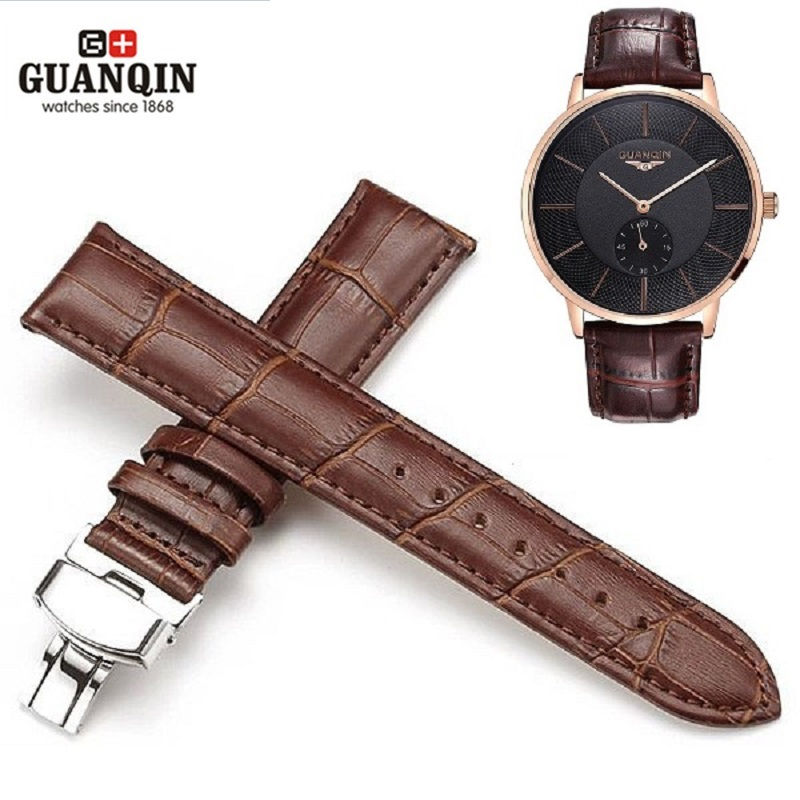 GUANQIN 20mm Watchbands Genuine Leather Black Brown Color Deployant Buckle Bracelet Watch Band For Butterfly Pattern Watches