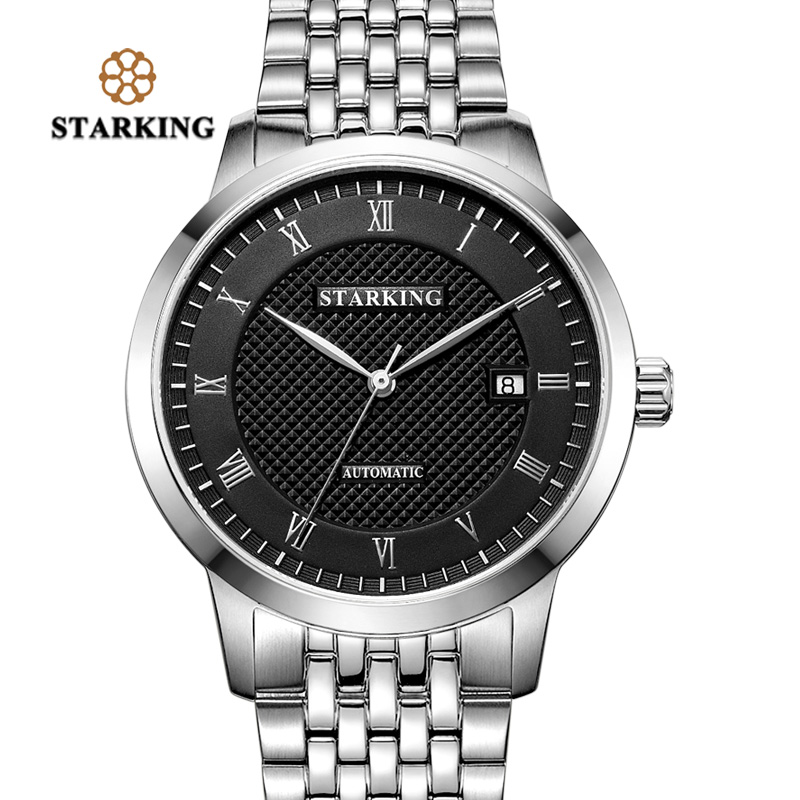 STARKING Business Watch Men Automatic Full Stainless Steel Roman Dial Sapphire Crystal Wrist Watches Relogio Masculino AM0187 sast 10 1 inch display nintaus machine singing old machine 50p lcd screen hw101f 0b 0c 50