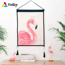 Baby Shower Flamingo Wall Background Hanging Art Cloth Wedding Birthday Party Room Decoration Ins Nordic Style Photo Booth,W