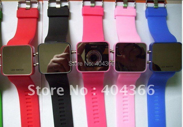 100pcs/lot Led Mirror Watch Plastic Fashion Watches with Red LED Light Free shipping