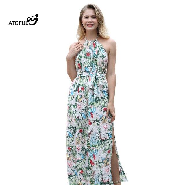 ATOFUL Summer Women Sexy Dress Halter Lace-Up Long Party Dress Vestidos Bodycon Strapless Backless Beach Maxi Dress