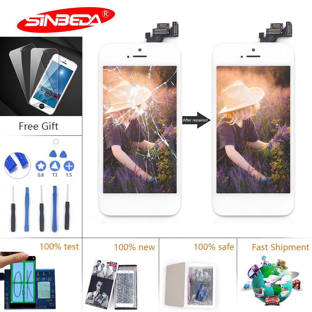 Sinbeda AAA LCD For iPhone 6 6S LCD Display Touch Screen Digitizer Home Button Front Camera for iPhone 5 6 Plus 6S Plus LCD in Mobile Phone LCD Screens from Cellphones Telecommunications