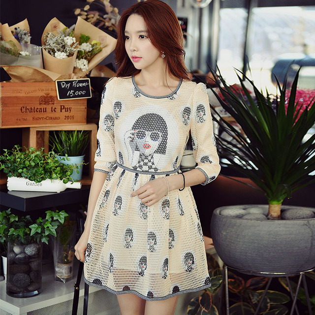 f299b979563 original 2018 brand vestido preppy style slim fashion cute casual cartoon  printed autumn dress women wholesale