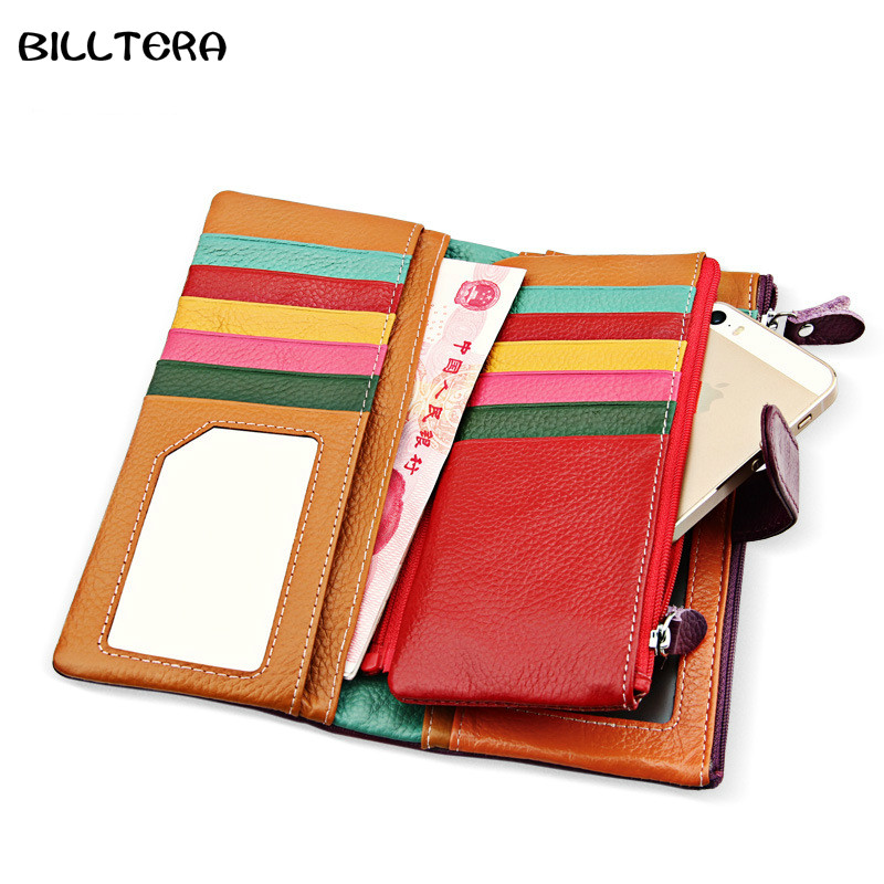 Fashion Lady Genuine Leather Long Wallet Women Multi-function Multi-Card Bit Holder Candy Colors Business Wallet Clutch Purse
