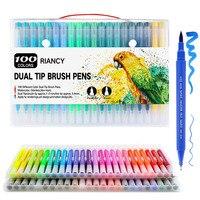 100 個カラフルなペンデュアル先端ブラシマーカーペン水彩ファインライナーペンアートマーカー着色描画絵画書道