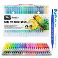 100 pçs canetas coloridas ponta dupla escova marcador caneta aquarela fina forro arte marcadores para colorir desenho pintura caligrafia