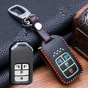 Image 5 - Hand sewing Luminous Leather Smart  Car Key Protect Cover Case For Honda Civic Accord EX EXL Crv Crz Hrv Shell Accessories