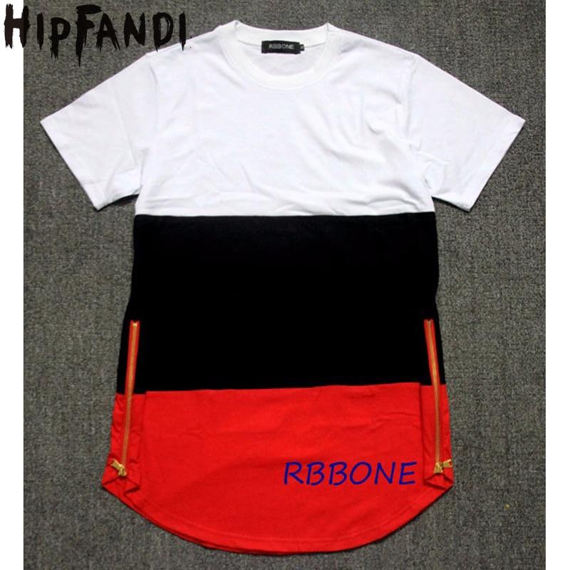 Hipfandi نمط رجل t قميص أبيض أسود أحمر خليط الذهبي الجانب سستة غنيمة تي شيرت الشارع الشهير الهيب هوب القمصان الموسعة
