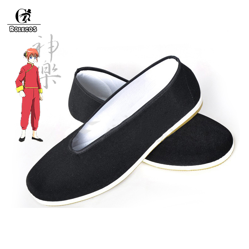 ROLECOS Anime Gintama Cosplay Kagura Kamui Chinese Costume Shoes Cosplay Shoes Black Cloth Shoes