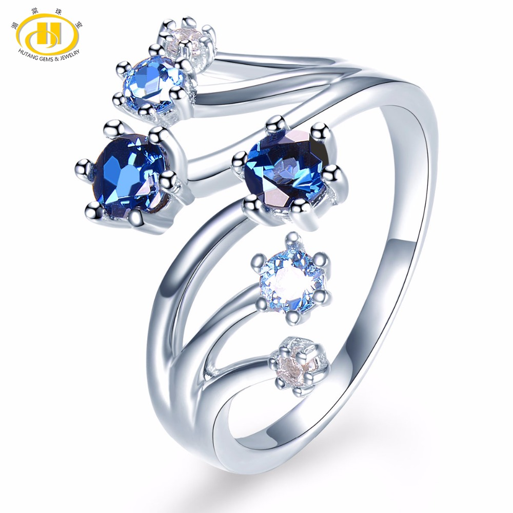 Hutang Engagement Rings Natural Gemstone Sky Blue London Topaz Solid 925 Sterling Silver Ring Fine Jewelry for Presents Gift NEW