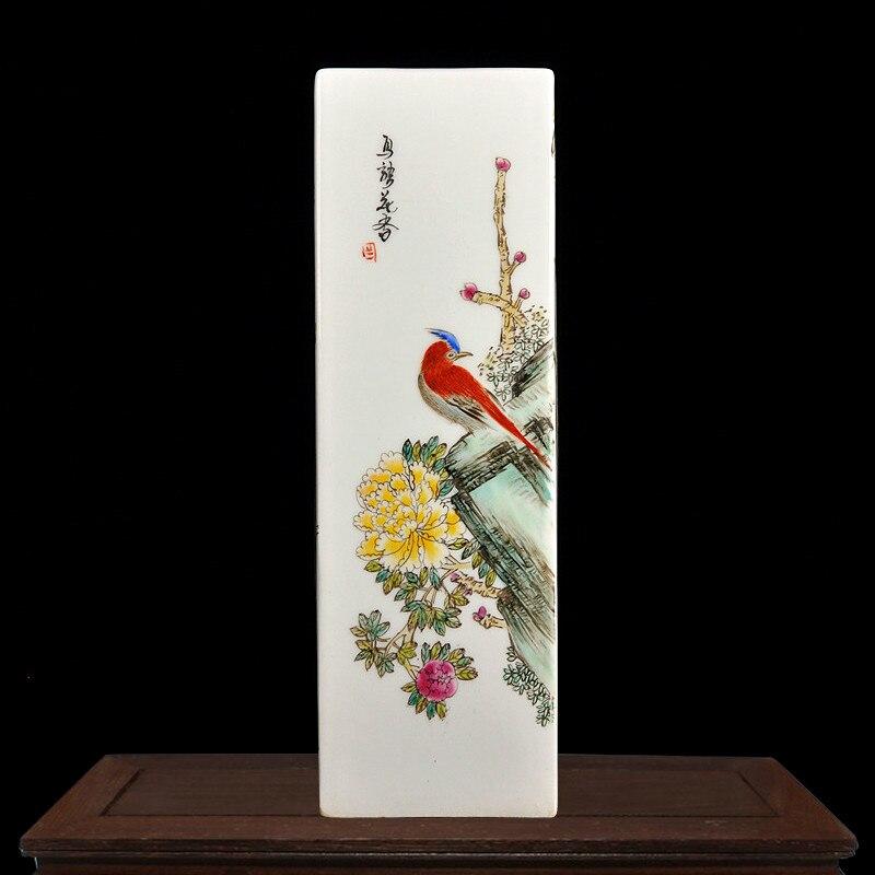 J Ingdezhenเซรามิกบริสุทธิ์มือวาดสี่ด้านพอร์ซเลนแจกันศิลปะจีนโบราณเครื่องประดับฝีมือ-ใน แจกัน จาก บ้านและสวน บน   2