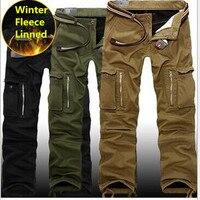 Erkekler Kış Kargo Pantolon Kalın Sıcak Pantolon Tam Boy Çok Cep Rahat Askeri Baggy Taktik Pantolon Safari tarzı Boyutu 29-40