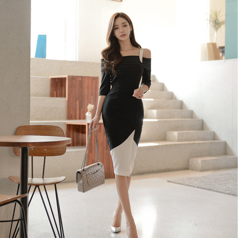 Lukaxsikax Fashion 2018 New Women Summer Dress Korean Elegant Slim Pink Pencil Dress V-neck Ruffles Sexy Night Club Dress Comfortable And Easy To Wear Women's Clothing