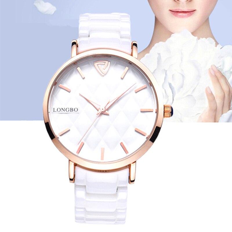 LONGBO Brand Fashion Quartz Ceramic White Gold Strap Women Wrist watch Women Waterproof Clock relogios femininos