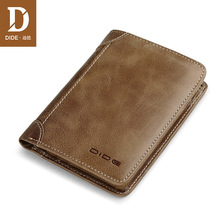 DIDE Genuine Leather Men Wallet Small Men Wale vintage purse card holder Brand men wallets dollar price Male Purse bag new design dollar price top male wallet purse pu leather vintage design purse men brand famous card holder mens wallet k030