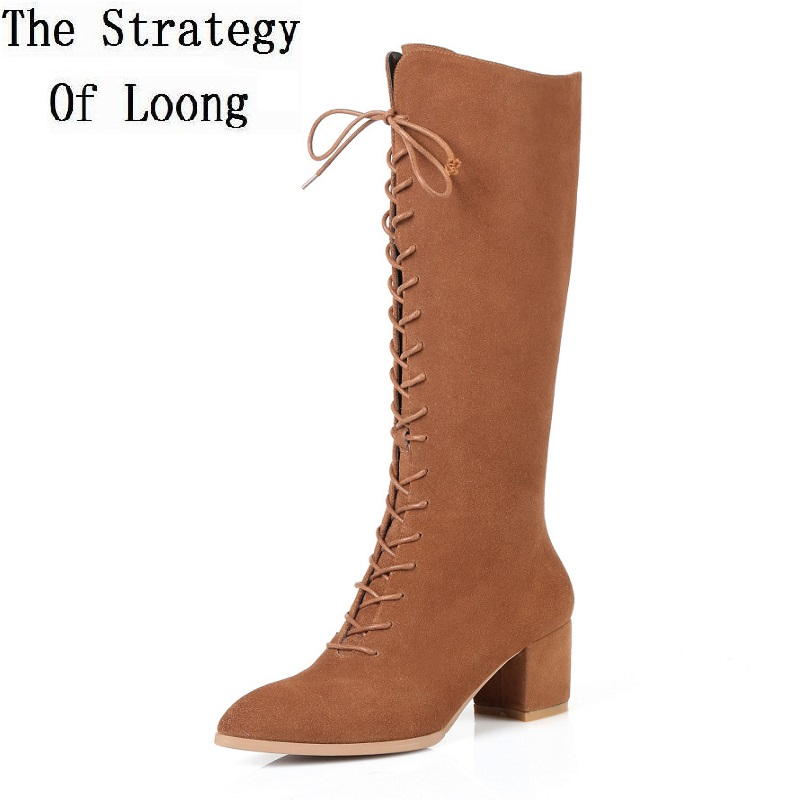 Women Full Grain Leather Lace Up Pointed Toe Fashion Knee High Boots Short Plush High Heels Winter Long Boots 20170208 new arrival women boots plus size shoes lcce up pointed toe high quality full grain leather fashion boots free shipping