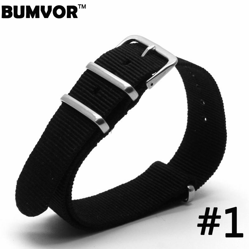 BUMVOR For Nato Nylon Watch Strap Watchbands Stainless steel Buckle color Black Watchband Mens 20mm 2017 zlimsn 5pcs lot nato nylon strap mens watchbands belt silver black watch bands metal buckle watchband relojes hombre 2017 22mm