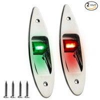 2 Pack of 12V Marine Boat waterproof Navigational LED Side bow Tear Drop Lights SS Vertical Mount Green/red
