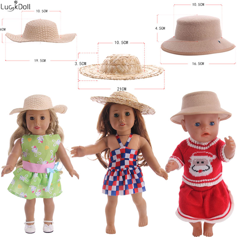 3 Styles Cute Woven Hat Fit 18 Inch American&43 CM Baby Doll Clothes Accessories,Girl's Toys,Generation,Birthday Gift