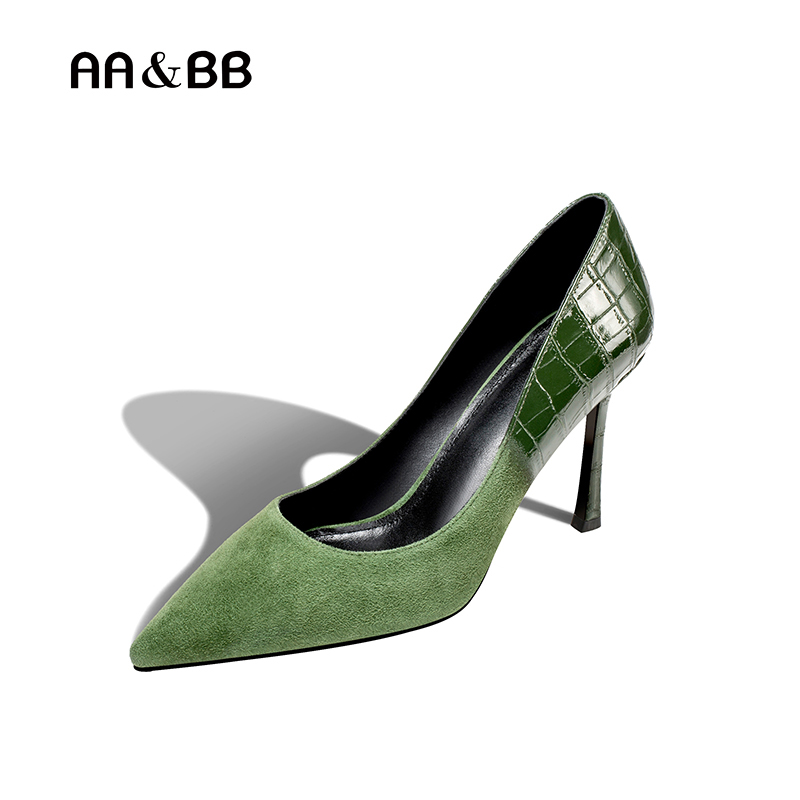 AA&BB 2018 spring / autumn dark green dress shoes woman pointed toe thin heels elegant high heel slip-on shallow kid sued pumps spring autumn shoes woman pointed toe metal buckle shallow 11 plus size thick heels shoes sexy career super high heel shoes