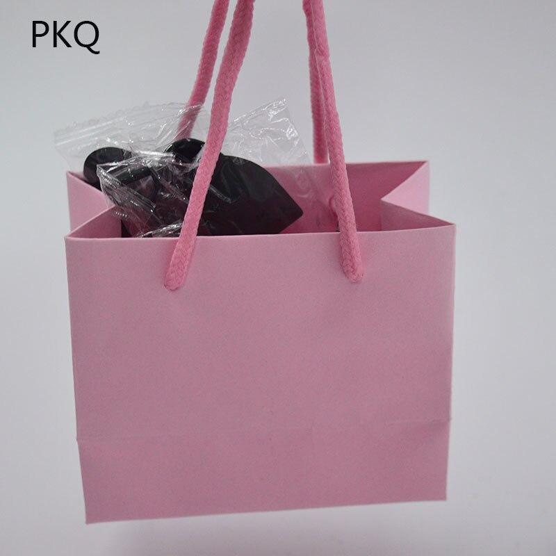 Image 2 - 50 Uds bolsa de regalo blanca de 3 tamaños con asa negra/bolsa de  papel Kraft marrón para empaquetar bolsas pequeñas de joyería Rosa  bolsa de fiesta regaloEnvoltorios y bolsas de regalo