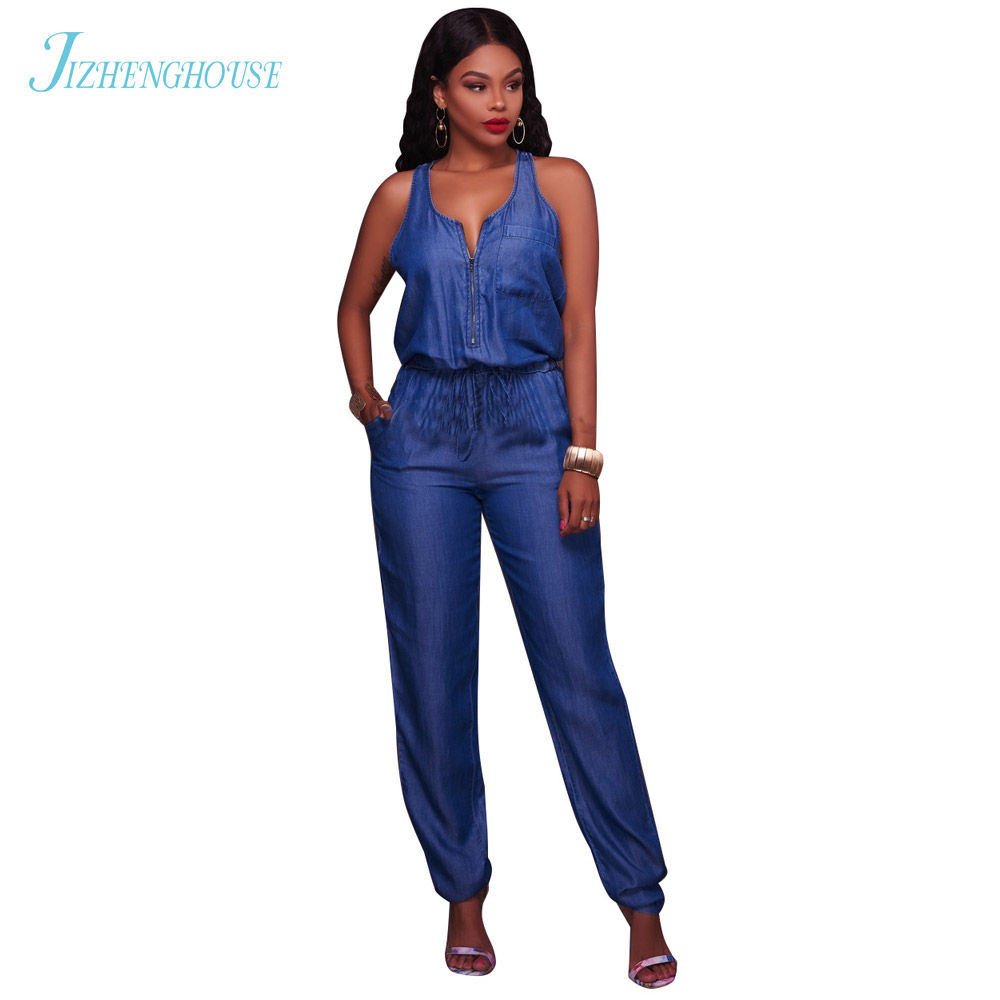JIZHENGHOUSE Denim Jumpsuit 2017 Korean Pretty Style Fashion Womens Jeans Jumpsuit Girls Casual Denim Overalls