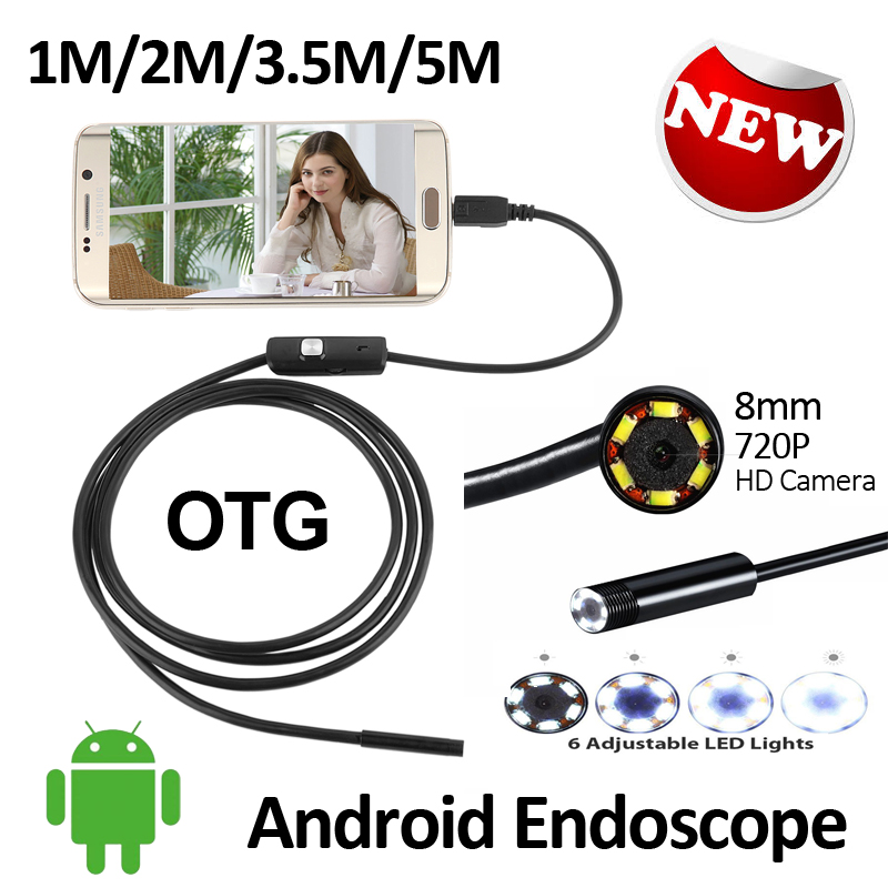 HD 720P 8mm Android USB Endoscope 2.0MP Camera 1M 2M 3.5M 5M IP67 Waterproof Snake Inspection Android OTG USB Borescope Camera 5m 3 5m 2m 1m micro usb android endoscope camera 5 5mm len snake pipe inspection camera waterproof otg android usb endoscope