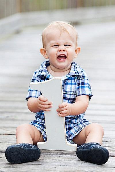 Grynas baltas Baby Photo Prop 1 Senas foto pasiūlymas 1 gimtadienio kūdikio kambario dekorui