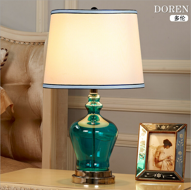 brief fashion novel blue crystal glass fabric table lamp for living room bar guest room decor desk lamp 1884