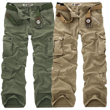 2019 New Cargo Pants Men Multi Pockets Pants Military Camouflage Track Pants Trousers Mens Elastic Waist Pant Men mens multi pockets thick polar fleece drawstring cargo pants