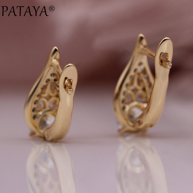 PATAYA New Flame Water Drop Hollow Earring 585 Rose Gold Round Natural Zircon Earrings Women Wedding.jpg 640x640 - PATAYA New Flame Water Drop Hollow Earring 585 Rose Gold Round Natural Zircon Earrings Women Wedding Fine Cute Fashion Jewelry