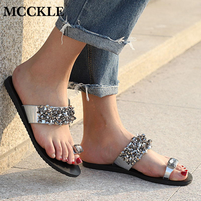 MCCKLE Women Summer Flip Flops Plus Size Flat Slippers Fashion Crystal Woman Shoes Casual Bling Slides For Female Outdoor Shoe xiaying smile summer woman sandals square heel women slippers slides shoes women pumps fashion casual bling crystal women shoes