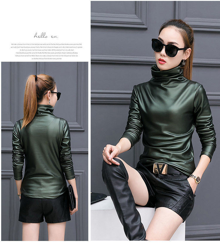 e259e3aa4a3d9 2019 European Punk Plus Size Women Blouse Autumn Turtleneck Long ...