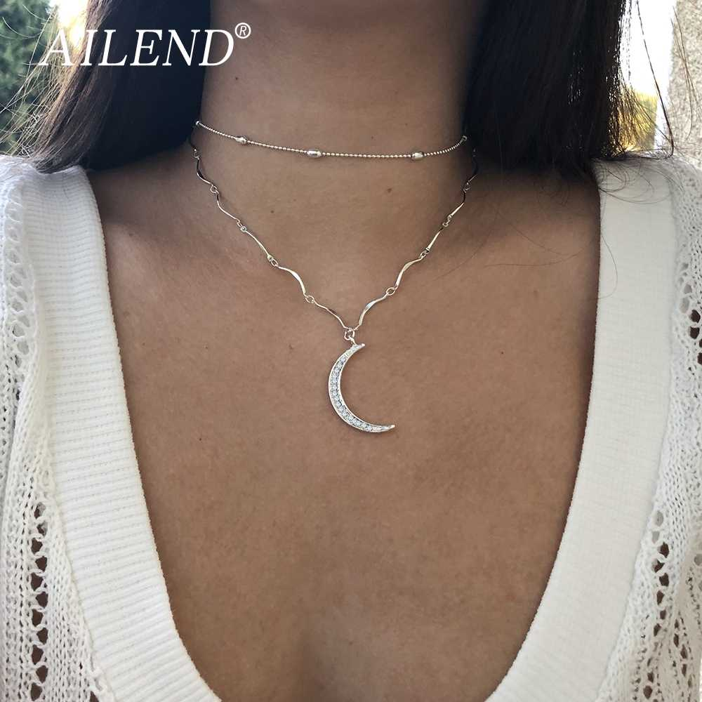 AILEND 2018 Новый Поп классического золотого цвета двойной слой кристаллов луна кулон ожерелье дамы лучший подарок