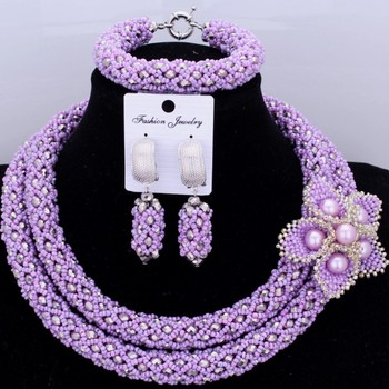 African Beads Jewelry Sets 2018 Nigerian Wedding Necklace Set With Handmade Flowers For Bridal Women Free Shipping Fashion Hot
