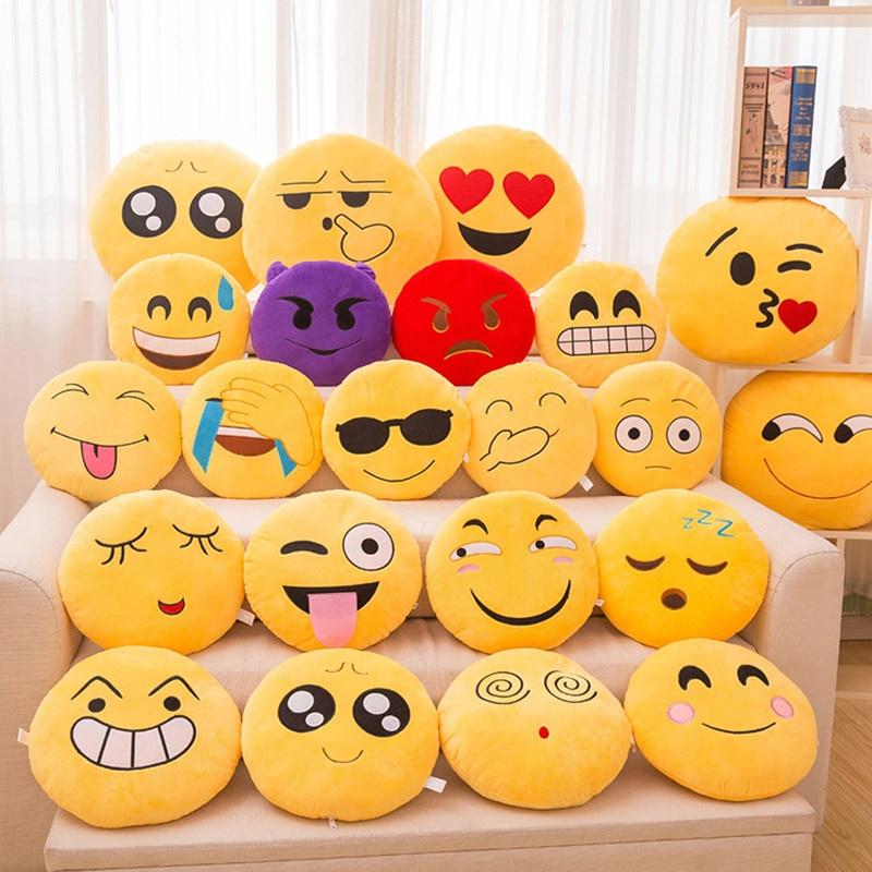 1Pc 30 CM Emoji Pillows Soft Plush Emoticon Round Cushion Home Decor Cute Cartoon Toy Decorative Throw Pillow #253935