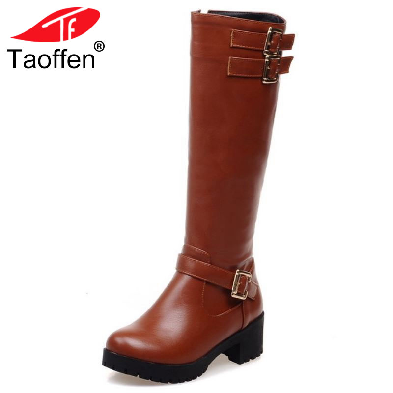 Taoffen Women High Heel Over Knee Boots Fashion Snow Long Boot Warm Winter Brand Botas Riding Footwear Heels Shoes Size 34-43 size 30 45 women real genuine leather flat over knee boots long boot warm winter botas mujer brand footwear heels shoes r7761