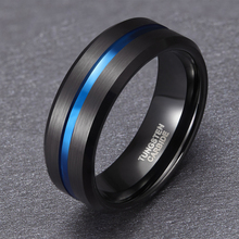 8mm Blue Line Inlay Mens Black Tungsten Carbide Ring For Engagement Wedding Rings Fashion Jewelry Masonic Ring Bague Homme