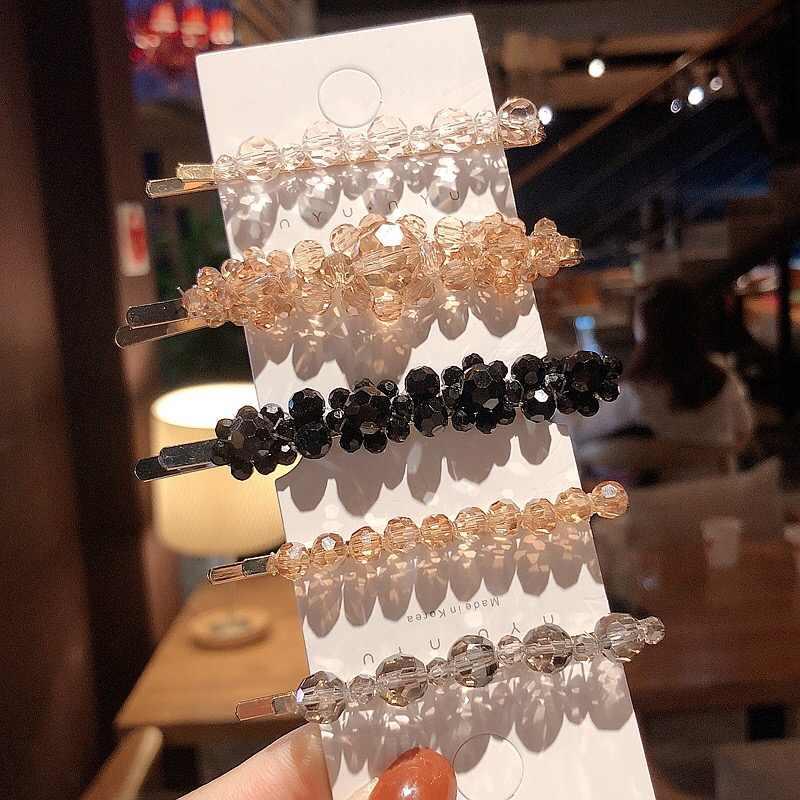 Fashion Beads Crystal Hairpins for Women Hair Accessories Bright Female Head Tiara Jewelry Korean Barrette Gold Pins Headpiece