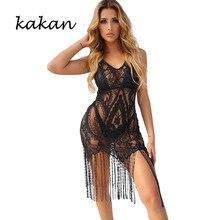 Kakan new women's sexy perspective lace V-neck dress long tassel beach dress white black dress round neck tassel long dress