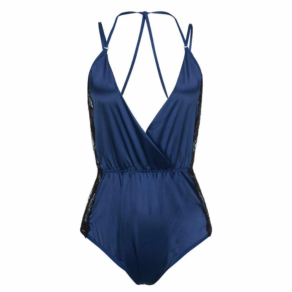 Đầm body Thời Trang Nữ Plus Kích Thước Gợi Cảm Satin Phối Ren Miếng Dán Cường Lực Quần Lót Bodysuits Đồ Lót Màu Đen Catsuit 19May8 P40
