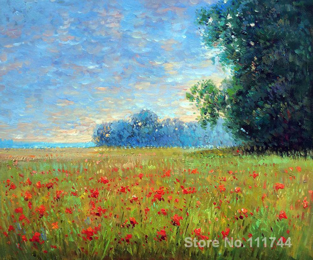 Landscape painting Impressionist Oat Fields Claude Monet