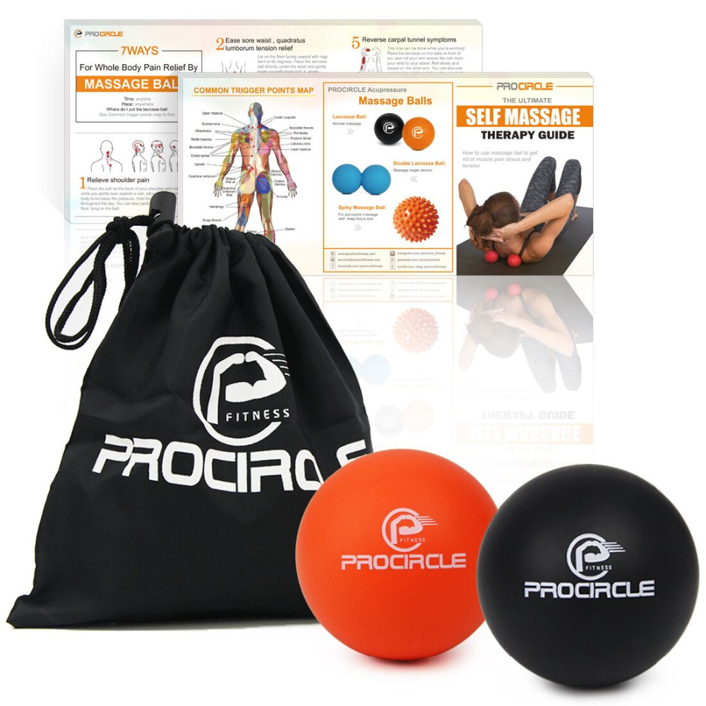 PROCIRCLE Massage Lacrosse Balls for Self-myofascial Release Therapy Muscle Knots and Yoga Therapy Set of 2 Firm Balls