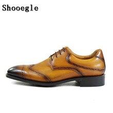SHOOEGLE Роскошные модные Для мужчин формальные Бизнес Мужская обувь из натуральной кожи на шнуровке Туфли-оксфорды Мужская обувь для вечеринки, свадебные туфли