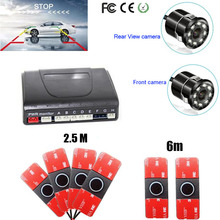Car parking Sensor 6 Distance show on Monitor Rear view Parktronic camera System Reverse radar Video backup Front camera System koorinwoo 4in1 car monitor reverse radar 8 probes car parking sensor beep alarm parktronic with rear view camera automobiles