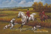 Modern art painting Vintage Landscape White Horse Oil Painting Hunting Dogs Heywood Hardy High quality Hand painted