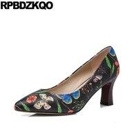 Medium Vintage Pointed Toe 2017 3 Inch Ladies Flower Size 4 34 Printed High Heels Shoes Block Pumps Genuine Leather Black New